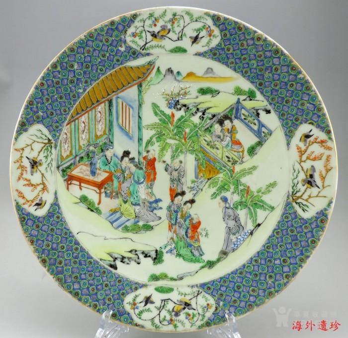 清代 咸丰 五彩戏曲故事人物大盘34.5厘米图12