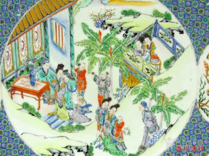 清代 咸丰 五彩戏曲故事人物大盘34.5厘米图6