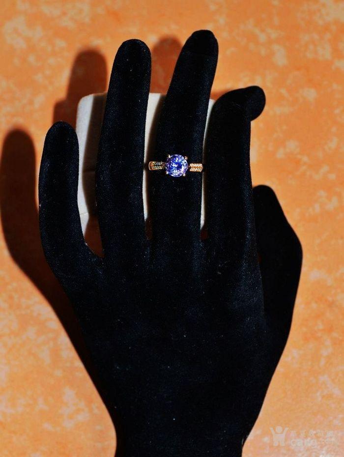 坦桑石钻戒 天然坦桑石镶南非钻石18K黄金女款钻戒图2