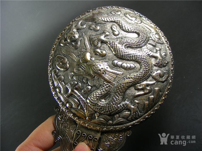 老山黄岫玉老提油带黑沁高浮雕苍龙教子大贵族银镜子一套图8