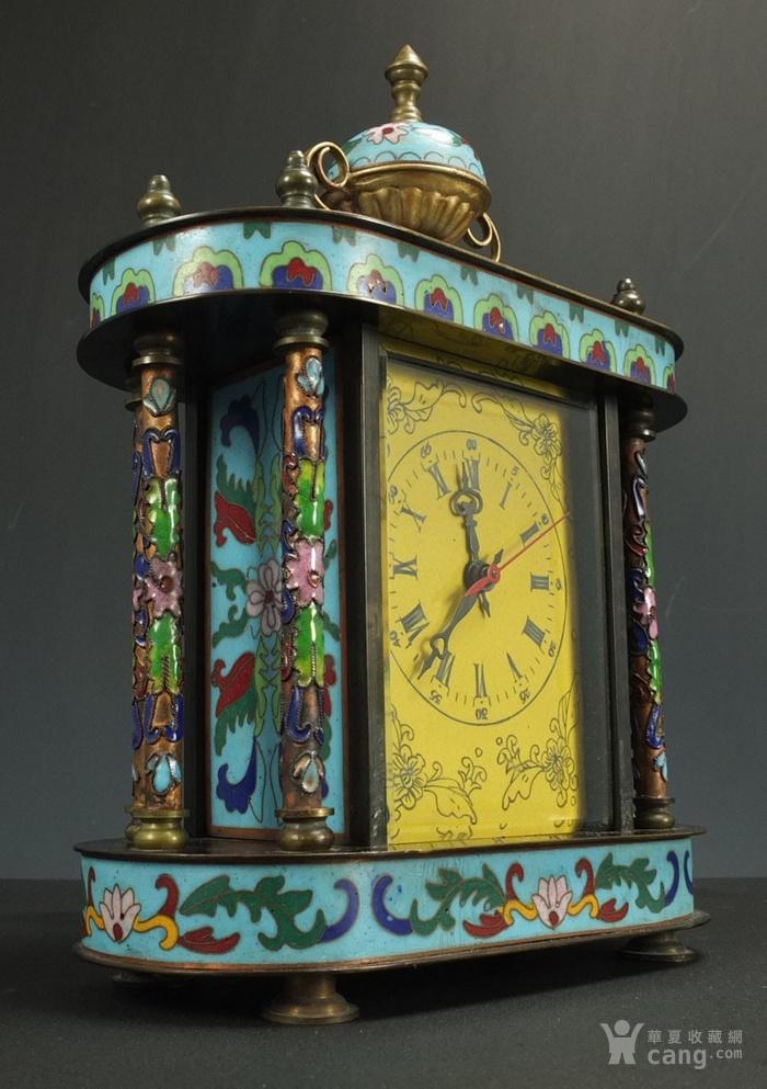 清代 铜胎掐丝珐琅座钟 二件包国际邮费 图4
