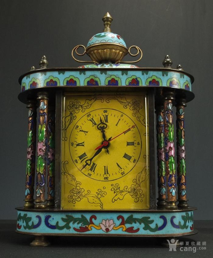 清代 铜胎掐丝珐琅座钟 二件包国际邮费 图1