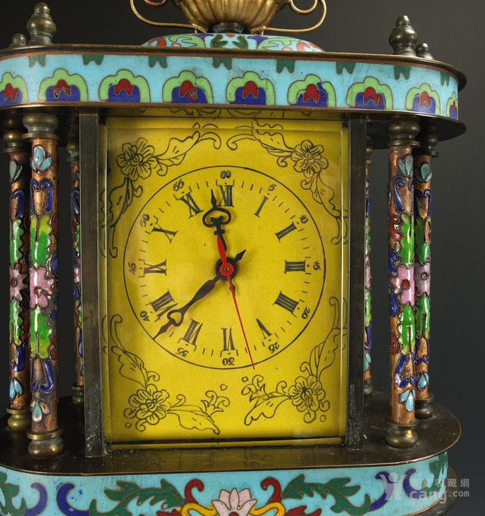 清代 铜胎掐丝珐琅座钟 二件包国际邮费 图10