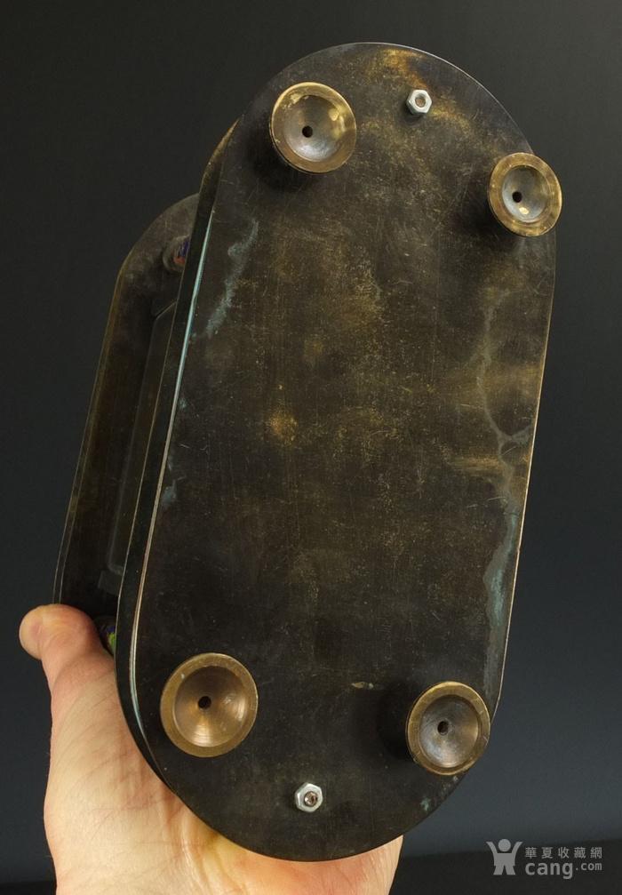 清代 铜胎掐丝珐琅座钟 二件包国际邮费 图11