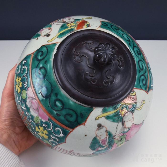 清代  粉彩 人物故事纹 莲子盖罐 三件包国际邮费 图8