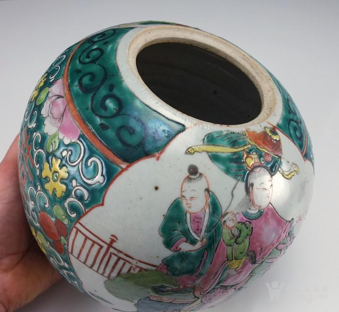 清代  粉彩 人物故事纹 莲子盖罐 三件包国际邮费 图4