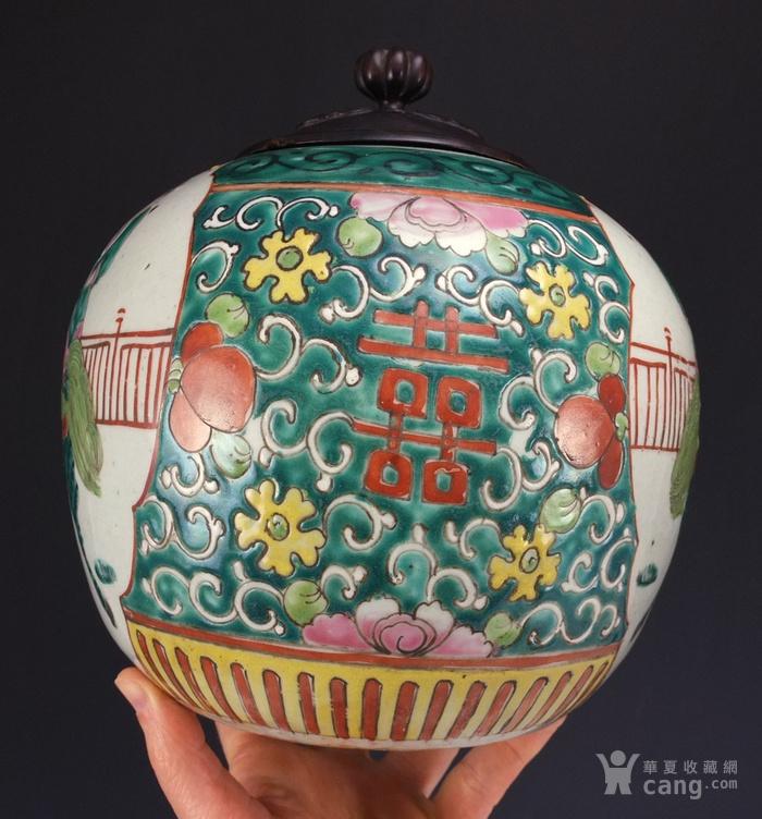 清代  粉彩 人物故事纹 莲子盖罐 三件包国际邮费 图5