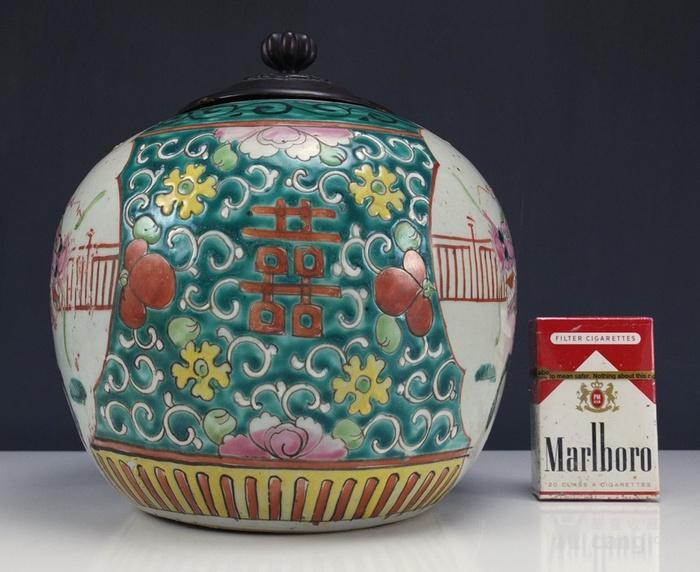 清代  粉彩 人物故事纹 莲子盖罐 三件包国际邮费 图3