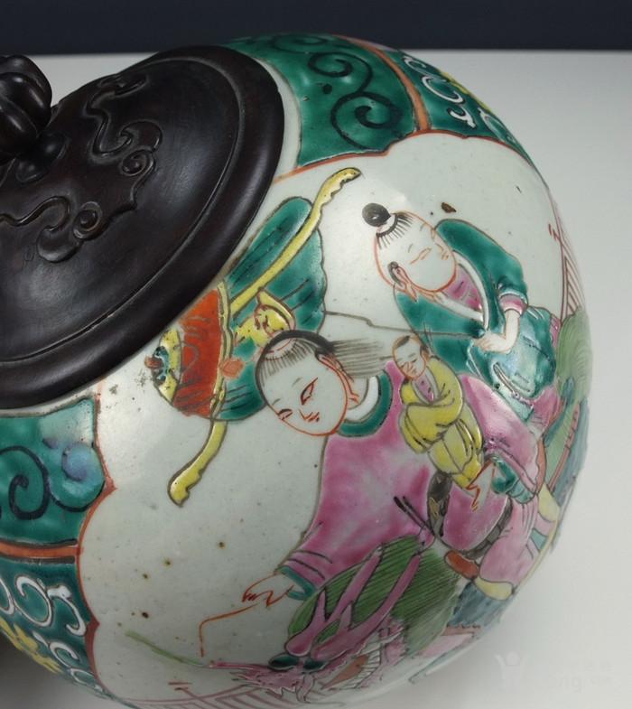 清代  粉彩 人物故事纹 莲子盖罐 三件包国际邮费 图6