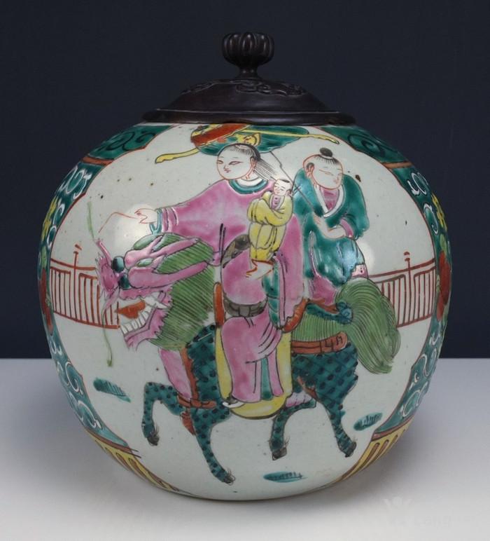 清代  粉彩 人物故事纹 莲子盖罐 三件包国际邮费 图1
