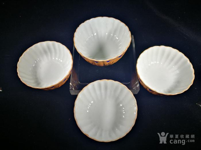 民国粉彩瓜楞形茶杯 四只 图7