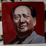 文革时期:毛主席肖像油画。画工精美