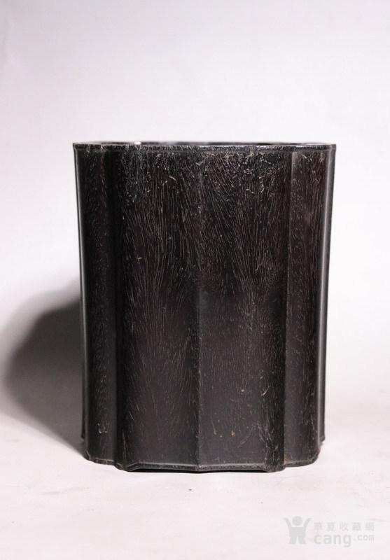清代   小叶紫檀葵口包边笔筒图1