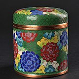 晚清民国 铜胎掐丝珐琅花卉纹盖罐