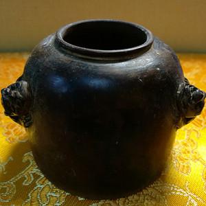 文房 清,双魑龙雕口 檀木掏空薄胎水盂:112克