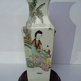 晚清瓷绘名家洪义顺浅绛彩仕女图铺首方瓶