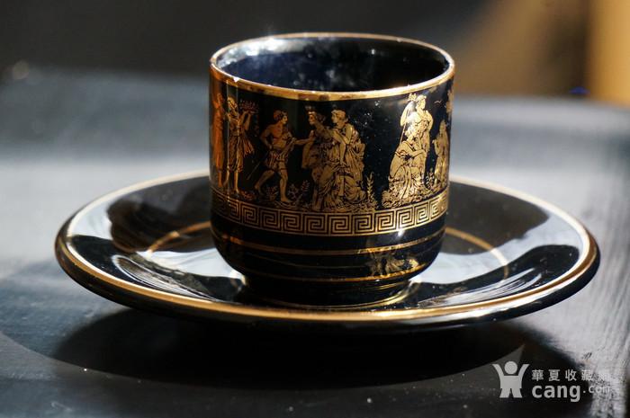 希腊24k纯金手绘人物故事咖啡杯盘图3