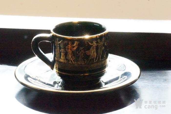 希腊24k纯金手绘人物故事咖啡杯盘图2
