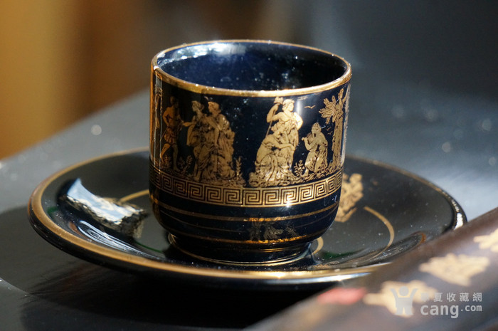 希腊24k纯金手绘人物故事咖啡杯盘图1