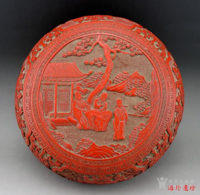 清代 剔红漆雕松下三老人物花卉纹 大捧盒图1