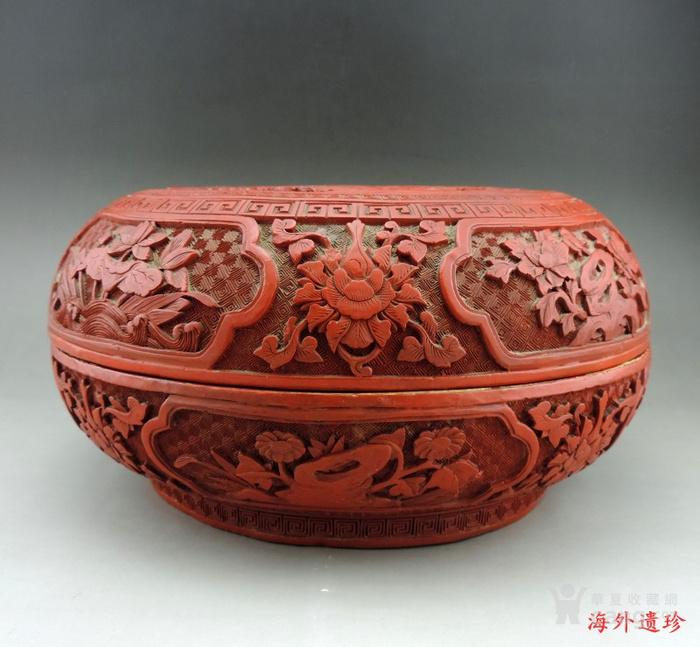 清代 剔红漆雕松下三老人物花卉纹 大捧盒图4