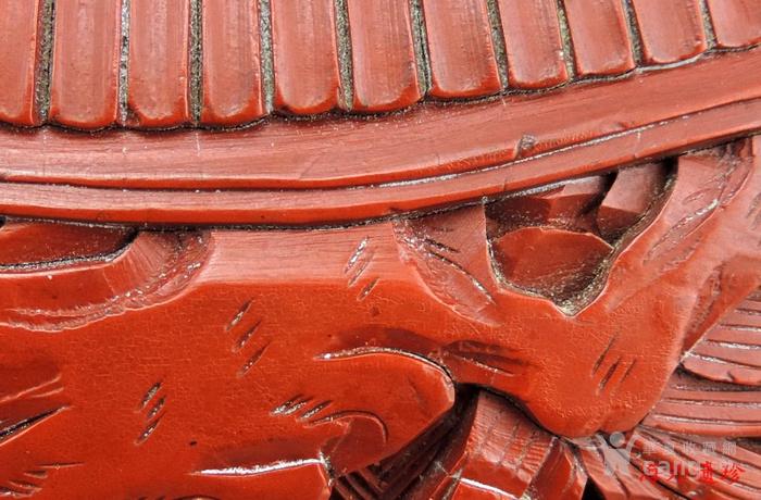清代 剔红漆雕松下三老人物花卉纹 大捧盒图6