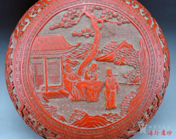 清代 剔红漆雕松下三老人物花卉纹 大捧盒图3