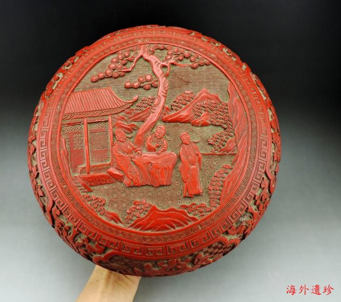 清代 剔红漆雕松下三老人物花卉纹 大捧盒图12