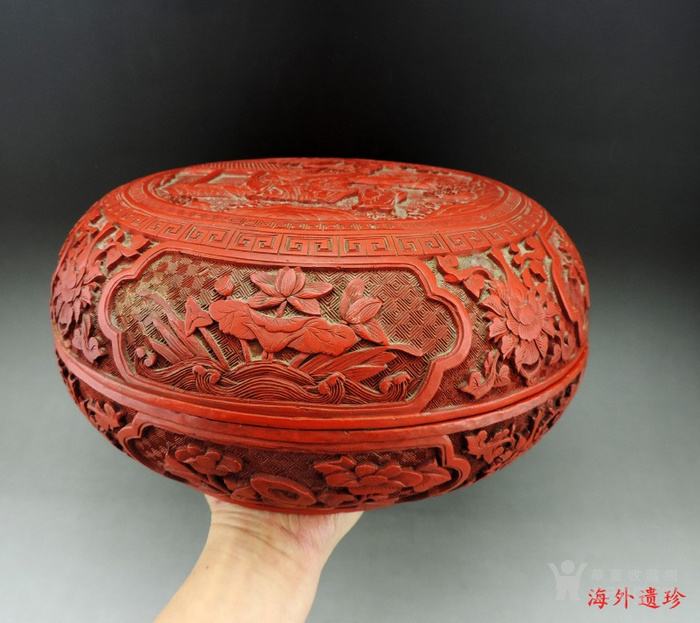 清代 剔红漆雕松下三老人物花卉纹 大捧盒图2