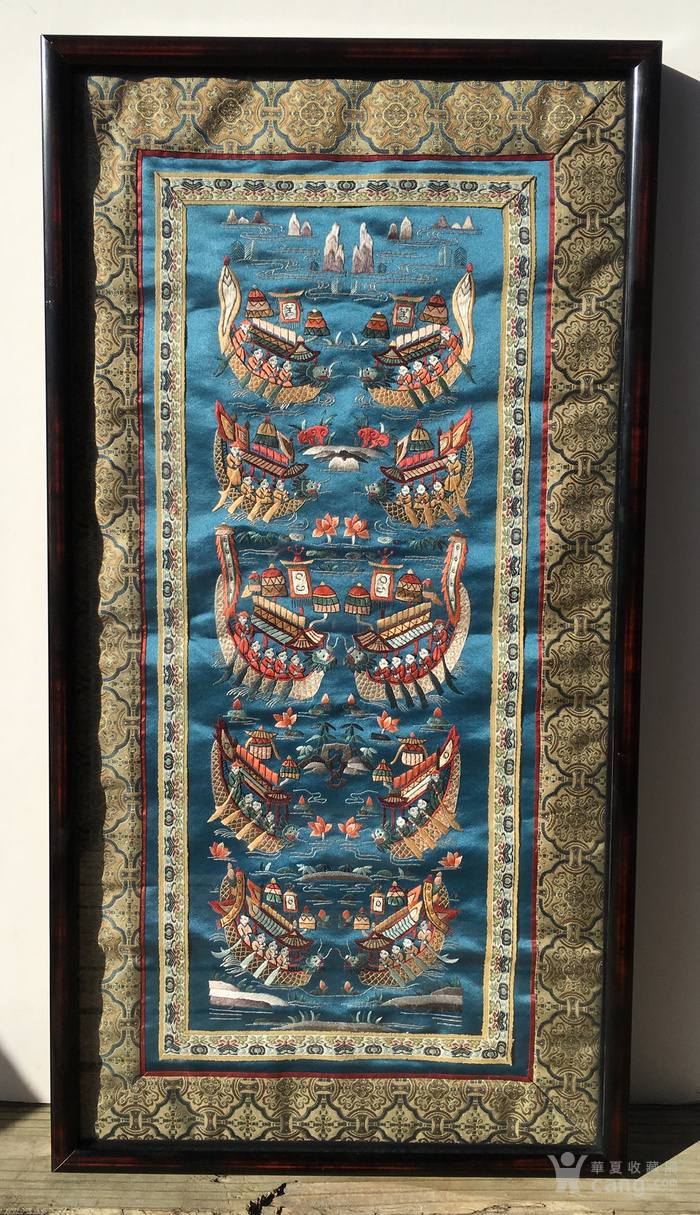 印第安河回流 民国老人物赛龙舟绣片图1