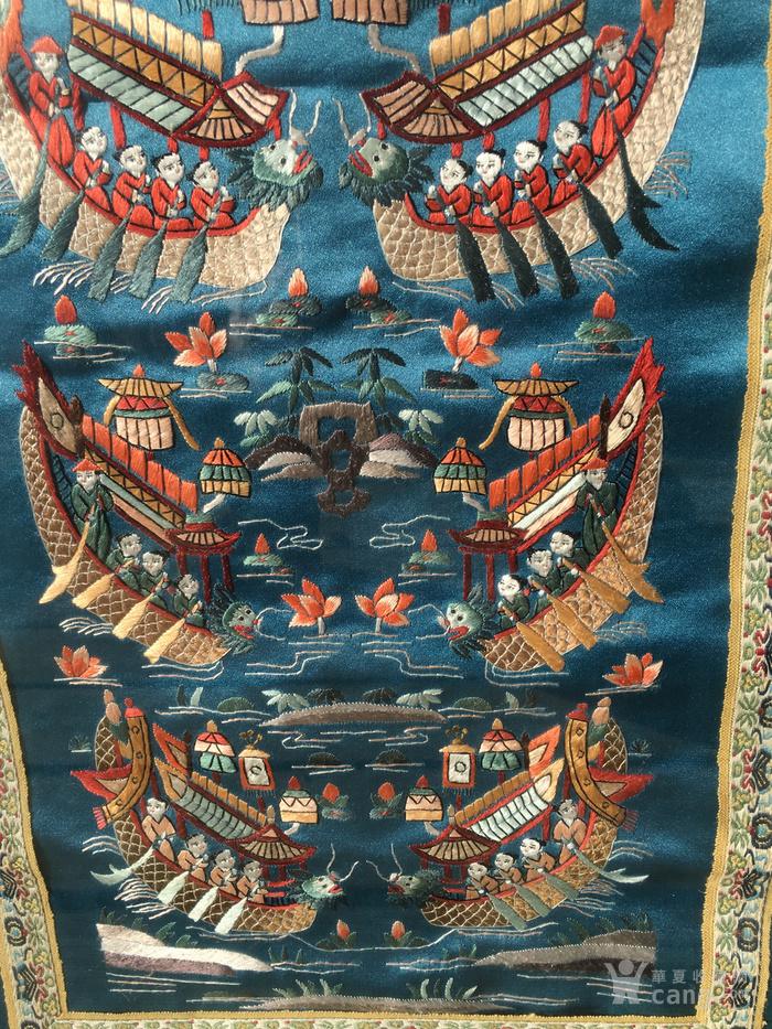 印第安河回流 民国老人物赛龙舟绣片图3