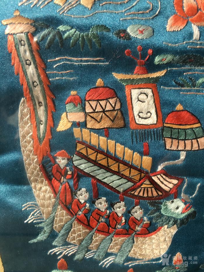 印第安河回流 民国老人物赛龙舟绣片图4