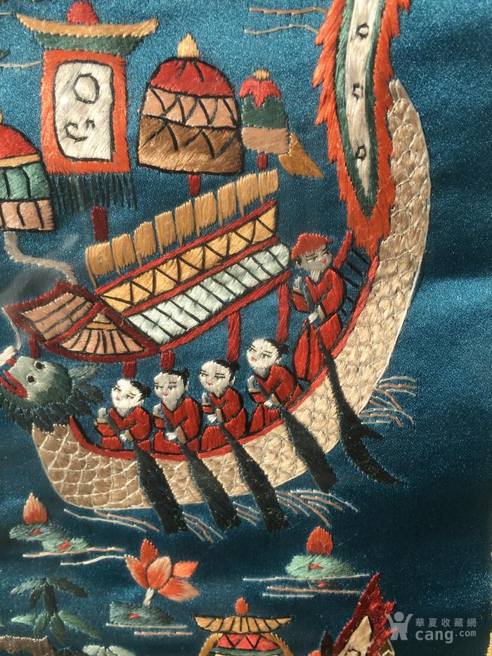 印第安河回流 民国老人物赛龙舟绣片图5