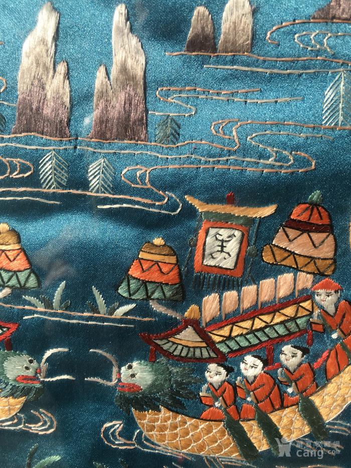 印第安河回流 民国老人物赛龙舟绣片图6