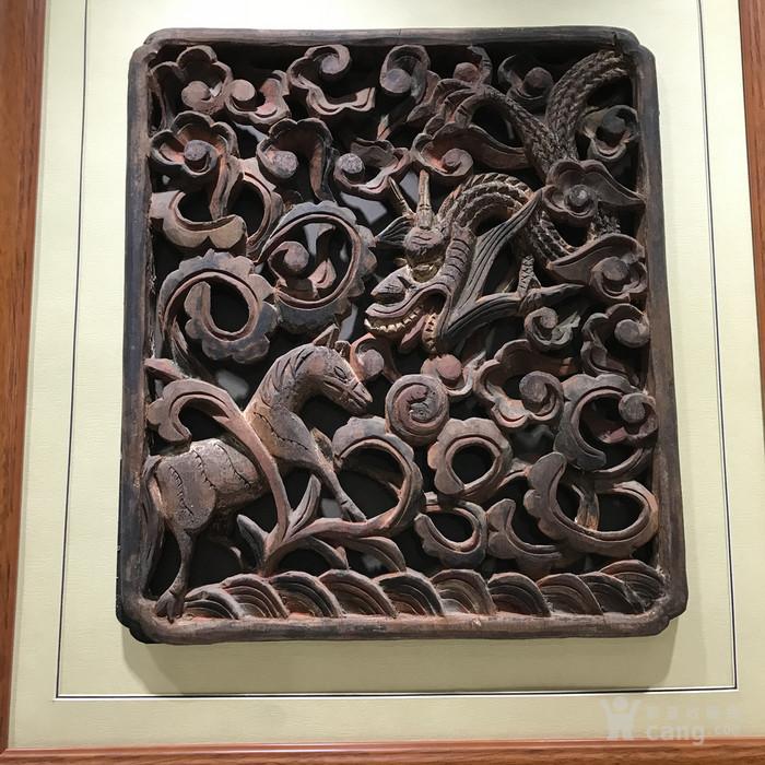 清代 矿物彩整版透木雕图4