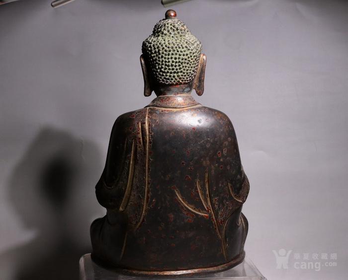 清代 释迦牟尼紫铜佛像图3