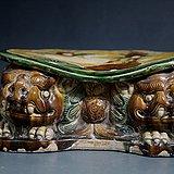 唐三彩双卧狮造型瓷枕