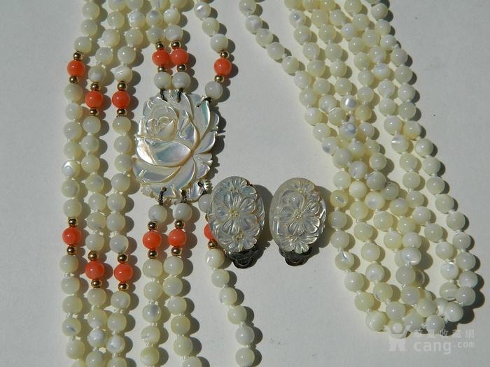 金牌 出口创汇时期粉珊瑚,碧玉老细螺三股项链送耳坠图2