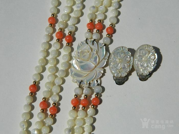 金牌 出口创汇时期粉珊瑚,碧玉老细螺三股项链送耳坠图5