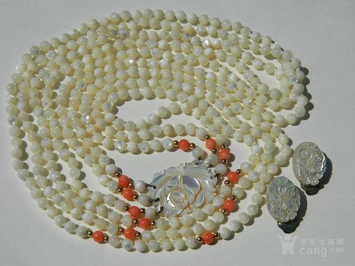 金牌 出口创汇时期粉珊瑚,碧玉老细螺三股项链送耳坠图6