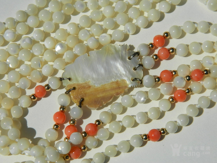 金牌 出口创汇时期粉珊瑚,碧玉老细螺三股项链送耳坠图9