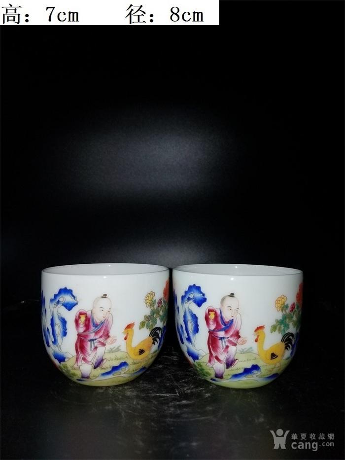 粉彩婴戏字纹小茶碗一对图1
