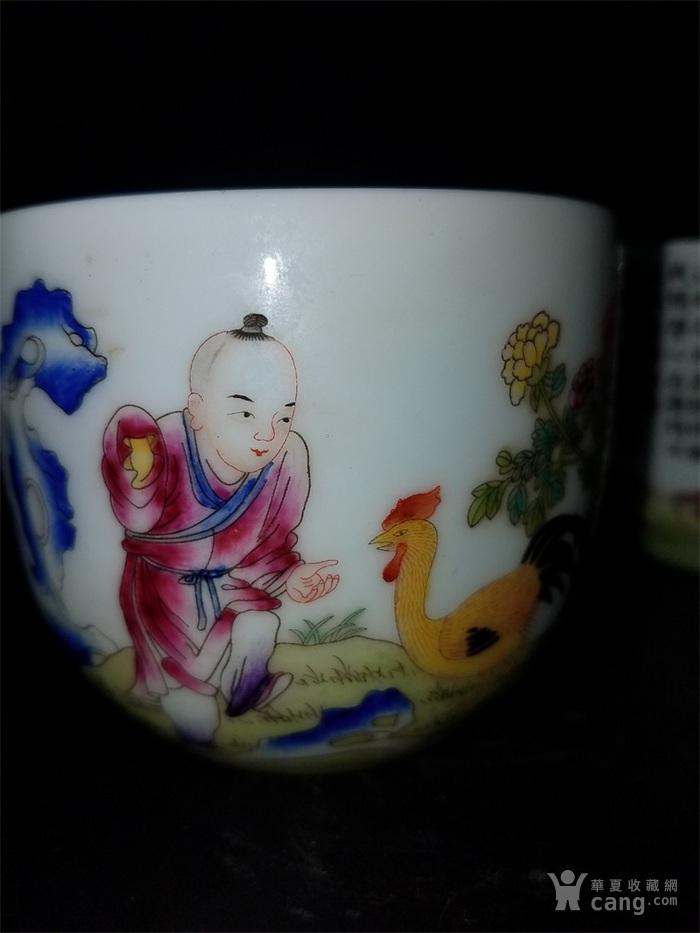 粉彩婴戏字纹小茶碗一对图4