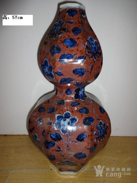 青花釉里红花卉葫芦瓶图1