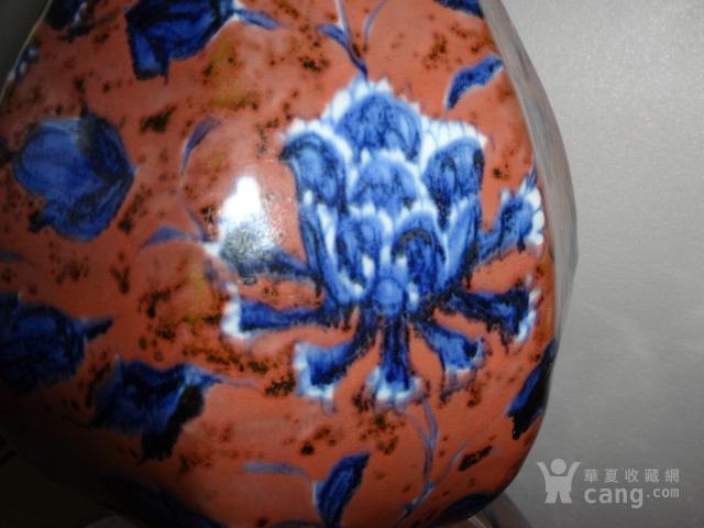 青花釉里红花卉葫芦瓶图3