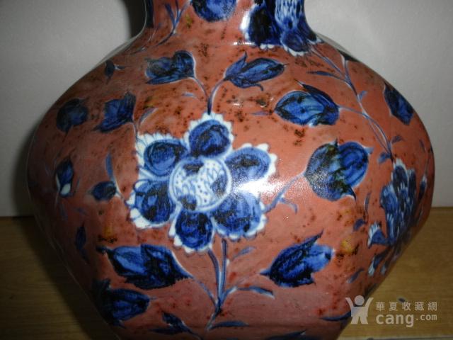 青花釉里红花卉葫芦瓶图4