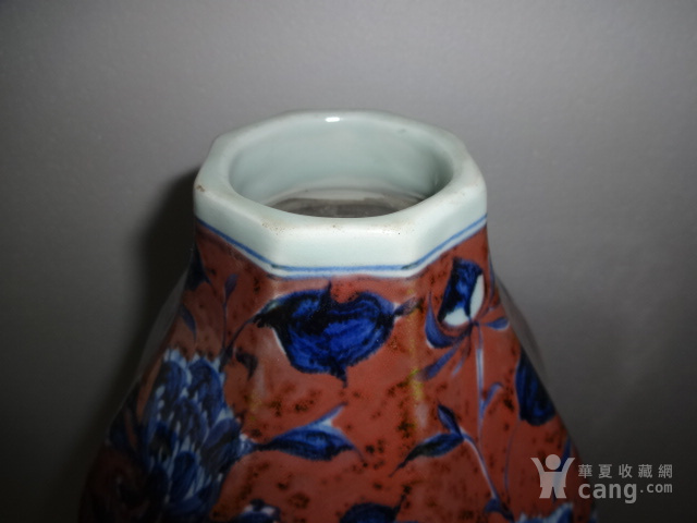 青花釉里红花卉葫芦瓶图2