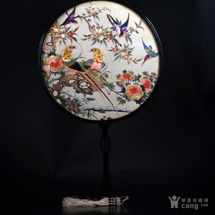 清代 花鸟纹 双面 粤绣 团扇图1