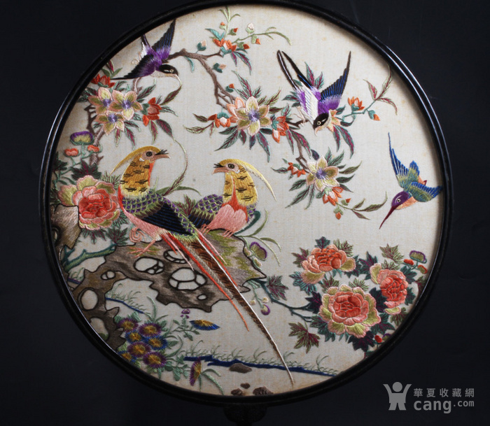 清代 花鸟纹 双面 粤绣 团扇图2