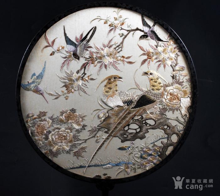 清代 花鸟纹 双面 粤绣 团扇图8